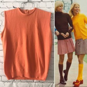 Vintage 1960's orange sleeveless mod top